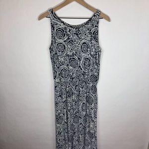 CAbi navy white geo print blouson maxi dress Sm